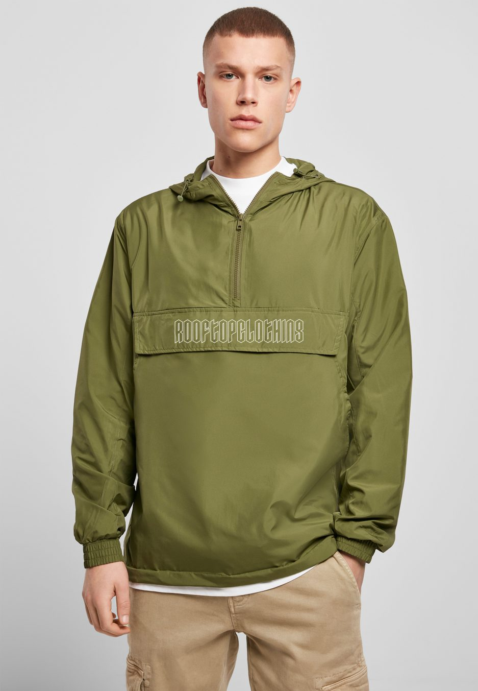 pull over jacke olive logo rooftop white